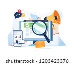 search result optimization seo... | Shutterstock . vector #1203423376