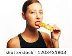 fashionable glamorous femme... | Shutterstock . vector #1203431803