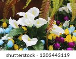 lilly  tulip and ferns in... | Shutterstock . vector #1203443119