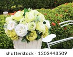 white rose. fabric flower and... | Shutterstock . vector #1203443509