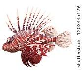 cartoon lionfish isolated on... | Shutterstock . vector #1203445129