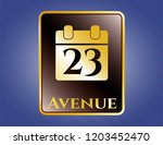 shiny badge with calendar icon ... | Shutterstock .eps vector #1203452470