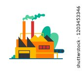 factory produces smoke. flat... | Shutterstock .eps vector #1203453346
