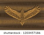 gold engraving hawk on the... | Shutterstock .eps vector #1203457186