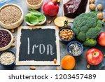 fruits  vegetables  legumes ... | Shutterstock . vector #1203457489