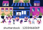 many tiny people sitting at... | Shutterstock .eps vector #1203466069