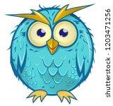 blue owl cartoon isolated on...   Shutterstock .eps vector #1203471256