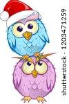 christmas group owl  cartoon...   Shutterstock .eps vector #1203471259