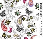 butterflies  paisley  flowers... | Shutterstock . vector #1203471340