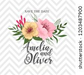 greeting card with flowers ... | Shutterstock .eps vector #1203487900