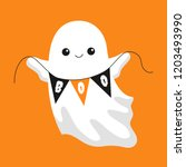 friendly ghost holding up boo...   Shutterstock .eps vector #1203493990