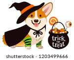 halloween corgi puppy dog... | Shutterstock .eps vector #1203499666