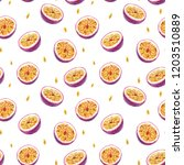 watercolor fruit pattern half... | Shutterstock . vector #1203510889