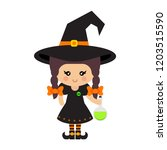 cartoon cute witch vector with... | Shutterstock .eps vector #1203515590