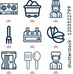 simple set of  9 outline icons... | Shutterstock .eps vector #1203522799