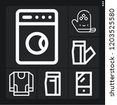 set of 6 clothes outline icons... | Shutterstock .eps vector #1203525580