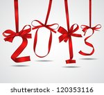 new year red ribbons greeting... | Shutterstock .eps vector #120353116