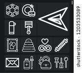set of 13 shiny outline icons... | Shutterstock .eps vector #1203533089