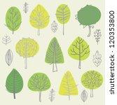 set of vector trees doodles | Shutterstock .eps vector #120353800