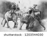 elephant polo. an hand drawn... | Shutterstock . vector #1203544030