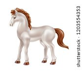 vector horse realistic toy with ... | Shutterstock .eps vector #1203554353