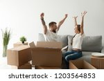 happy excited young couple... | Shutterstock . vector #1203564853
