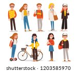 set of people in different... | Shutterstock .eps vector #1203585970