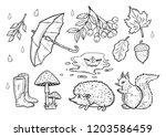 Stock vector vector hand drawn illustration of the autumn weather set rain drops open umbrella rubber boots 1203586459