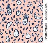 vector tropical fruit... | Shutterstock .eps vector #1203592426