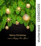 christmas decorations on pine... | Shutterstock .eps vector #1203602203
