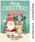merry christmas card with santa ... | Shutterstock .eps vector #1203605566