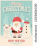 merry christmas card with santa ... | Shutterstock .eps vector #1203606100
