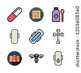 illness icon set. vector set... | Shutterstock .eps vector #1203608560