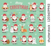 collection of cute santa claus... | Shutterstock .eps vector #1203609943