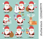 collection of cute santa claus... | Shutterstock .eps vector #1203609979