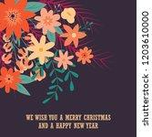 typographic merry christmas... | Shutterstock .eps vector #1203610000
