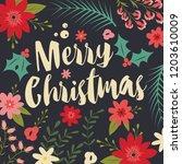 typographic merry christmas... | Shutterstock .eps vector #1203610009