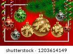 happy new year  realistic glass ...   Shutterstock .eps vector #1203614149