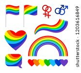 pride signs. proud couple lgbt... | Shutterstock .eps vector #1203616849