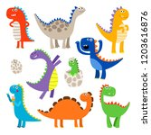 cute dinosaurs. baby cartoon... | Shutterstock .eps vector #1203616876