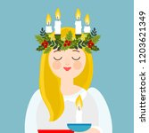 saint lucia with floral wreath... | Shutterstock .eps vector #1203621349