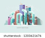 new year 2019. greeting card. | Shutterstock .eps vector #1203621676