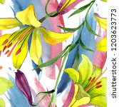 watercolor yellow lily flower.... | Shutterstock . vector #1203623773