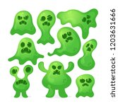 scary slimy monsters. vector set | Shutterstock .eps vector #1203631666