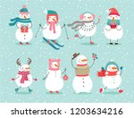christmas set with cute snowmen.... | Shutterstock .eps vector #1203634216