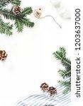 christmas festive composition.... | Shutterstock . vector #1203637000