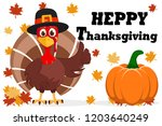 turkey in hat shows like on a... | Shutterstock .eps vector #1203640249