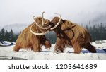 woolly mammoth bulls fighting ... | Shutterstock . vector #1203641689