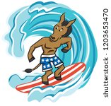 democratic donkey rides a wave... | Shutterstock .eps vector #1203653470