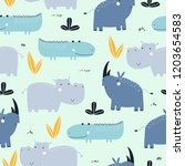 seamless childish pattern with... | Shutterstock .eps vector #1203654583